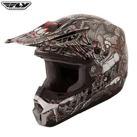 Fly Racing Kinetic Youth Graphic Helmet Jungle Grey Red